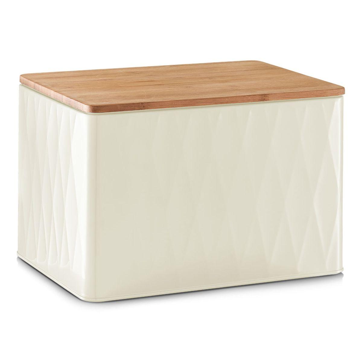 Хлебница Zeller, с разделочной доской, цвет: белый, светло-коричневый, 27,8 х 20,2 х 19 смVT-1520(SR)Хлебница Zeller представляет собой контейнер из металла с крышкой. Крышка выполнена из дерева, которая также служит разделочной доской. Такая хлебница позволит сохранить ваш хлеб свежим и вкусным.