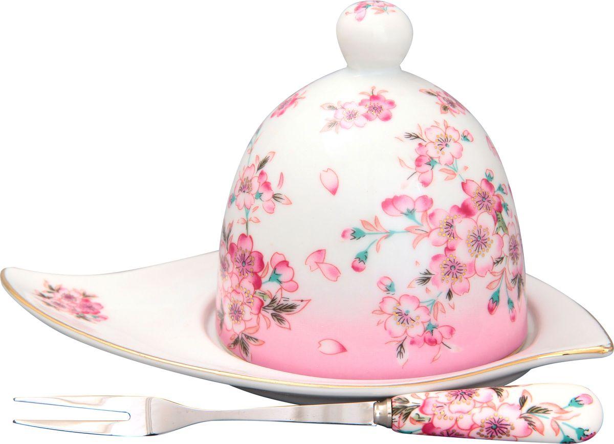 Подставка под лимон Elan Gallery Сакура, с вилкой, 16 х 11 х 9 см115510Подставка под лимон состоит из блюда, крышки и вилочки. Украсит любое событие и сохранит лимон от заветривания. Изящная посуда, изготовленная из высококачественной керамики с прекрасным цветочным дизайном прекрасно дополнит интерьер Вашей кухни. А также станет отличным подарком Вашим друзьям и близким.Общий размер подставки: 16 х 11 х 9 см.