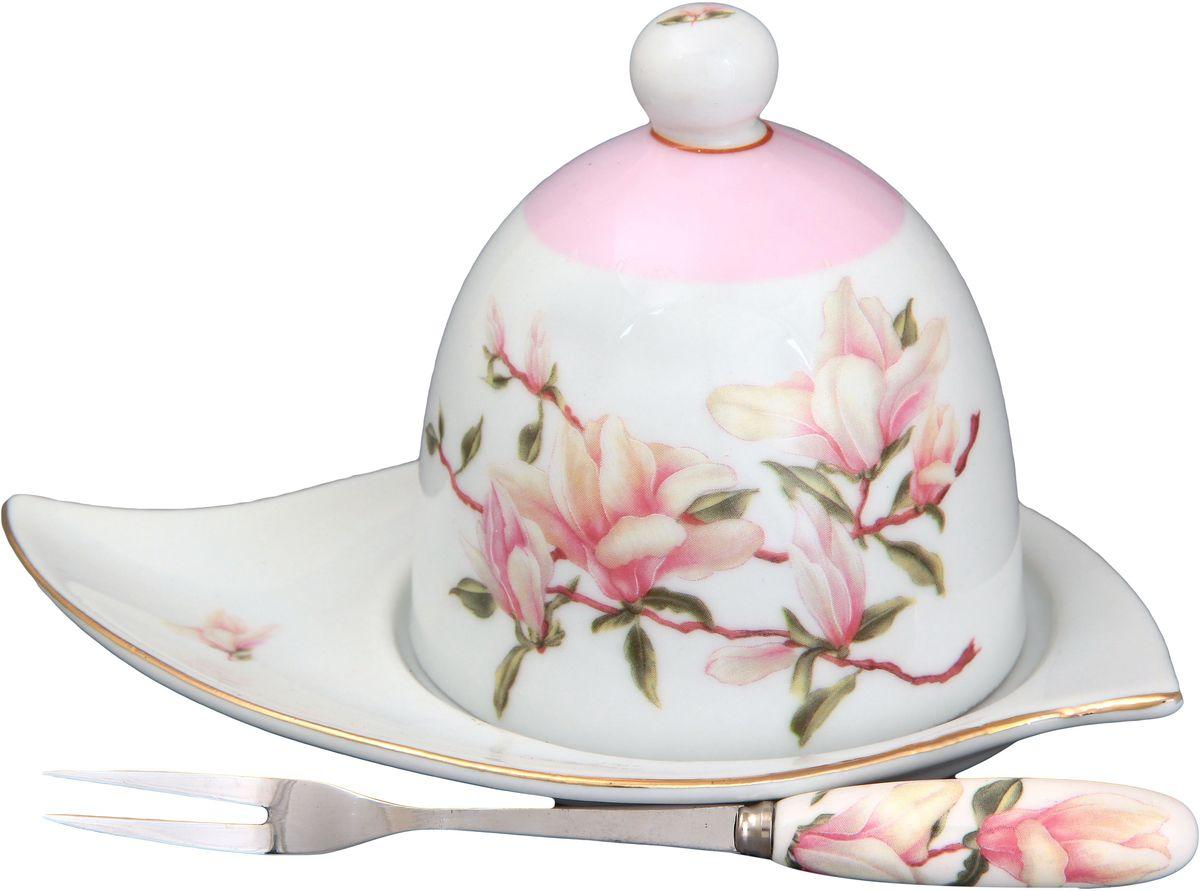 Подставка под лимон Elan Gallery Орхидея, с вилкой, 16 х 11 х 9 см115510Подставка под лимон состоит из блюда, крышки и вилочки. Украсит любое событие и сохранит лимон от заветривания. Изящная посуда, изготовленная из высококачественной керамики с прекрасным цветочным дизайном прекрасно дополнит интерьер Вашей кухни. А также станет отличным подарком Вашим друзьям и близким.Общий размер подставки: 16 х 11 х 9 см.