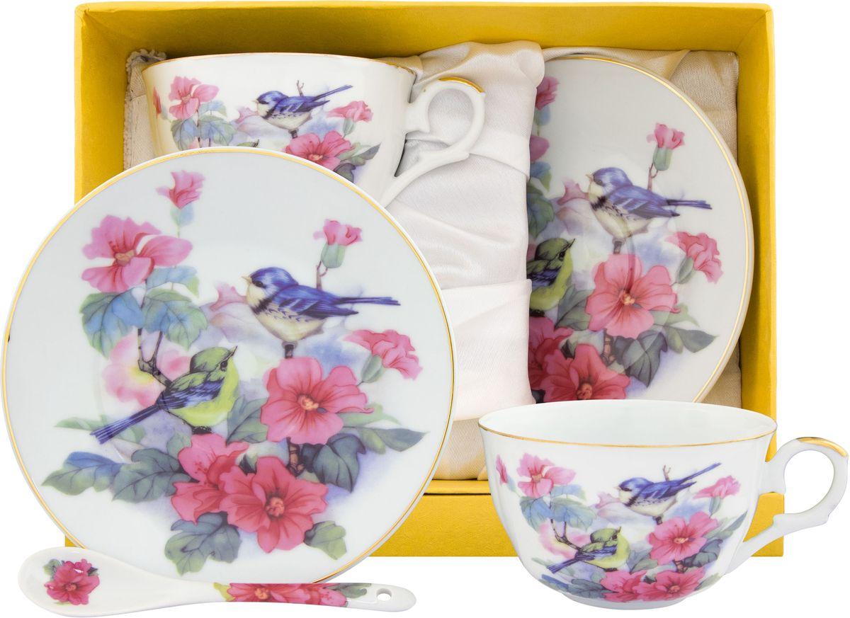 Чайный набор Elan Gallery Синички в шиповнике, с ложкой, 6 предметов115510Великолепный чайный набор на 2 персоны станет шикарным подарком. В комплекте 2 чашки, 2 блюдца, 2 ложечки. Изделие имеет подарочную упаковку, поэтому станет желанным подарком для Ваших близких!