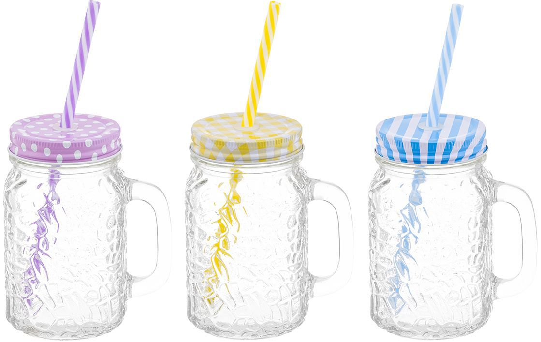 Набор кружек для глинтвейна/коктейля Elan Gallery Настроение, с крышками и трубочками, 500 мл, 9 предметов115510Набор состоит из трех стеклянных кружек с завинчивающимися крышками и трех пластиковых трубочек. Кружки идеально подходят для глинтвейна, также их можно использовать для прохладительных напитков, какао, шоколада. Набор станет отличным подарком на любой праздник, украсит и добавит неповторимый шарм любому дому.