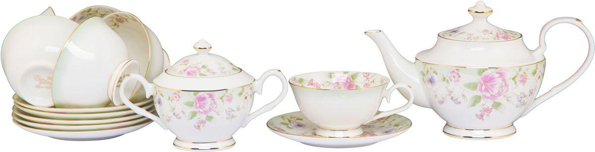 Чайный набор Elan Gallery Карнавал цветов, 230 мл, 14 предметовFS-91909Чайный сервиз на 6 персон из серии в красивой подарочной упаковке. Легкие изящные чашки объемом 230 мл, большие блюдца. В комплекте 6 чашек, 6 блюдец, вместительный элегантный чайник объемом 900 мл и сахарница 430 мл Этот чайный сервиз подходит для праздничного стола и является великолепным подарком!