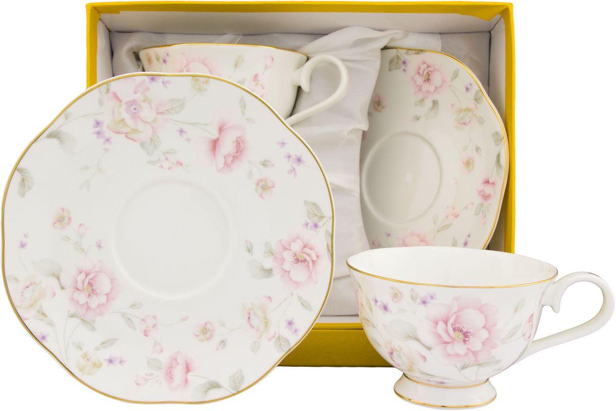 Чайный набор Elan Gallery Жизель, 4 предмета115510Чайный набор на 2 персоны украсит Ваше чаепитие. В комплекте 2 чашки, 2 блюдца. Изделие имеет подарочную упаковку, поэтому станет желанным подарком для Ваших близких!Объем чашки: 230 мл.