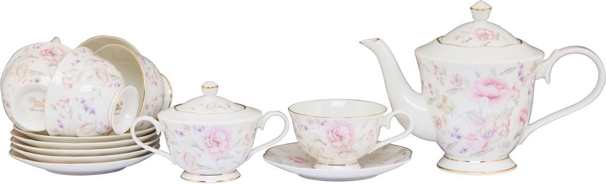 Чайный набор Elan Gallery Жизель, 220 мл, 14 предметов115510Чайный сервиз на 6 персон из серии в красивой подарочной упаковке. Легкие изящные чашки объемом 230 мл, большие блюдца. В комплекте 6 чашек, 6 блюдец, вместительный элегантный чайник объемом 1 л и сахарница 350 мл Этот чайный сервиз подходит для праздничного стола и является великолепным подарком!