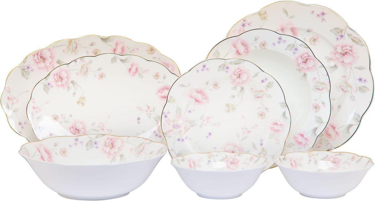Столовый сервиз Elan Gallery Жизель, 23 предмета115510Прекрасный столовый сервиз из коллекции Амалия прекрасно впишется в любой классический интерьер, поэтому его часто выбирают в качестве подарка. В наборе: 6 обеденных тарелок, 6 суповых тарелок, 6 десертных тарелок, 2 салатника 420 мл, салатник 1,4 литра, 1 блюдо овальное 30,5 см, блюдо овальное 27 см