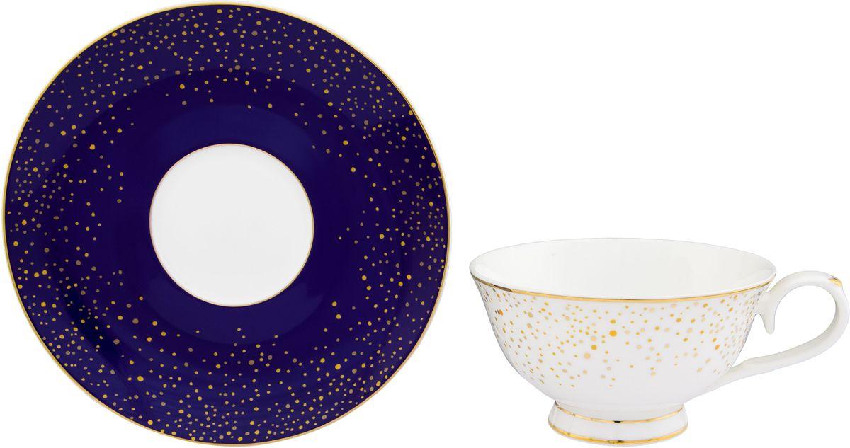 Чайная пара Elan Gallery День и ночь, 220 мл54 009312Шикарная чайная пара на 1 персону в нежных тонах станет памятным подарком. В комплекте 1 чашка на ножке объемом 220 мл, 1 блюдце. Изделие имеет подарочную упаковку из полипропилена с бантиком.