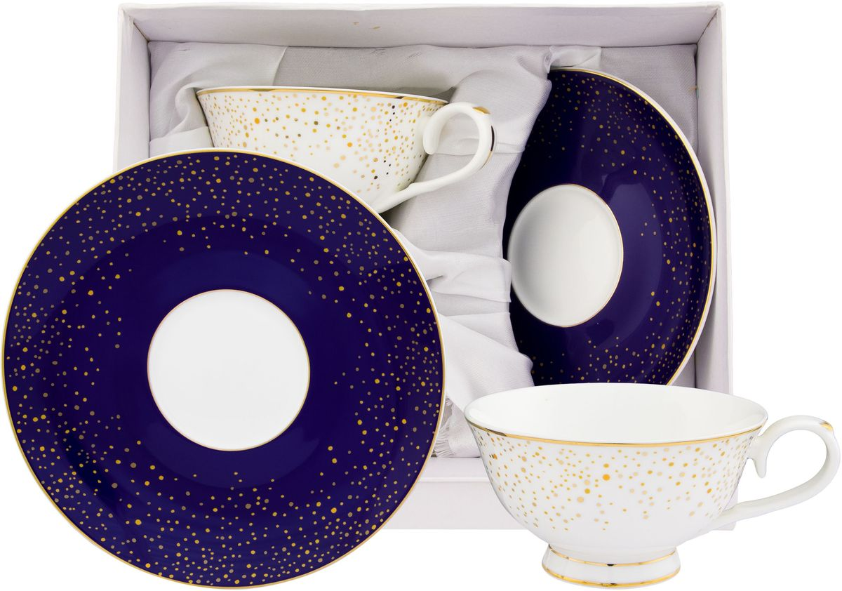 Чайный набор Elan Gallery День и ночь, 4 предметаFS-91909Чайный набор на 2 персоны украсит Ваше чаепитие. В комплекте 2 чашки, 2 блюдца. Изделие имеет подарочную упаковку, поэтому станет желанным подарком для Ваших близких!Объем чашки 220 мл.