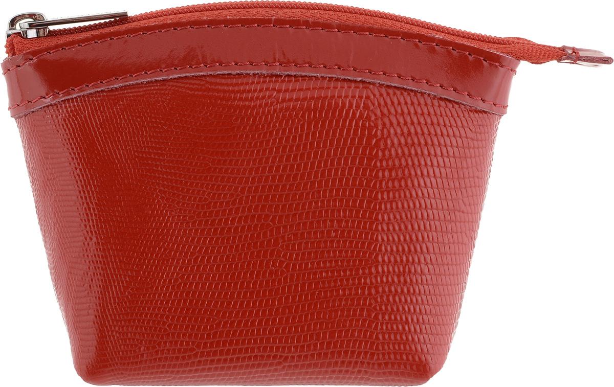 Кошелек-монетница женский Dimanche, цвет: красный. 258/13490300нКошелек-монетница Dimanche выполнен из натуральной кожи с тиснением под рептилию и закрывается на застежку-молнию. Внутри расположено одно отделение для денег.Изделие упаковано в фирменную коробку.