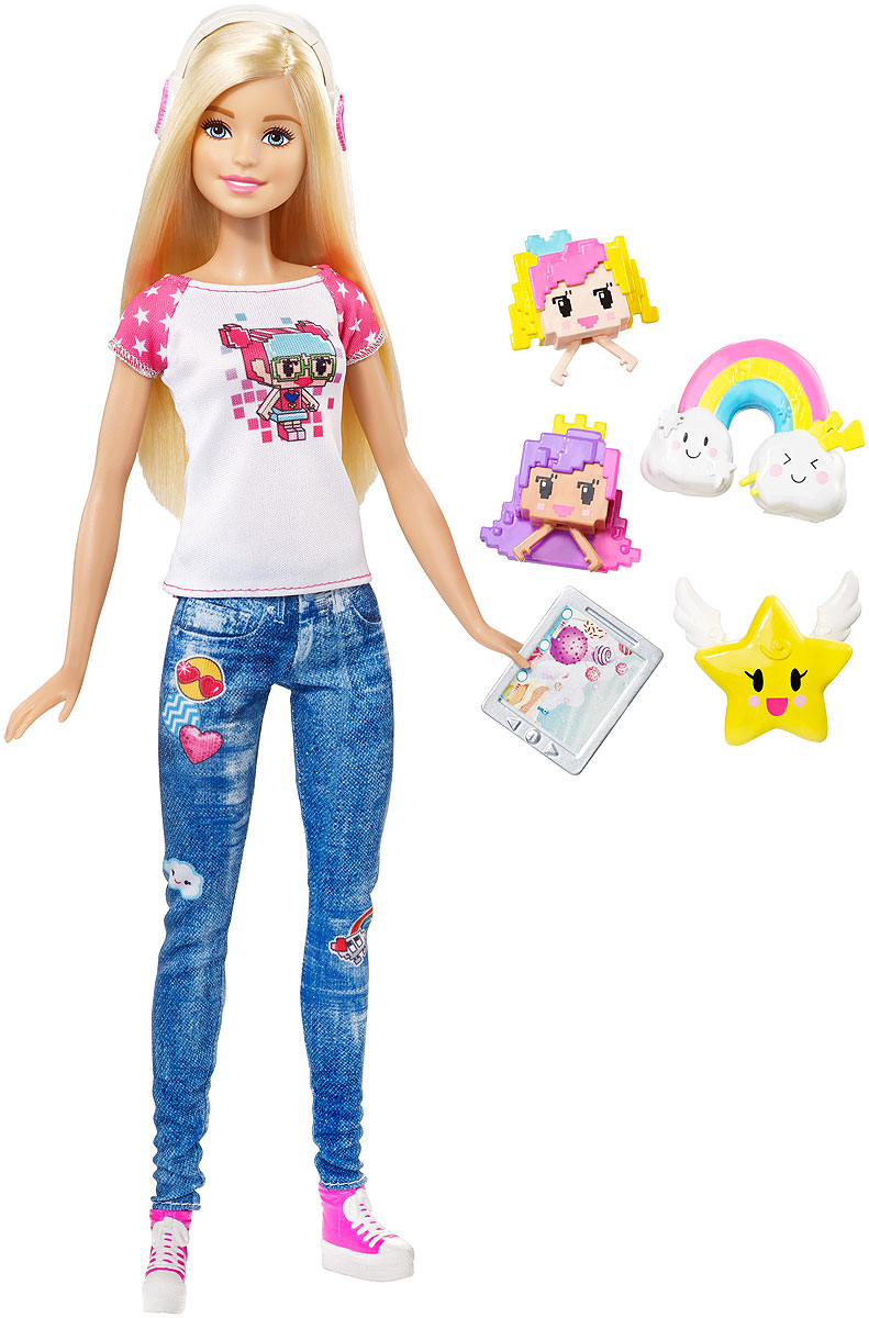 Barbie Кукла Виртуальный мир цвет одежды джинсовый белый barbie кукла геймер из серии barbie и виртуальный мир