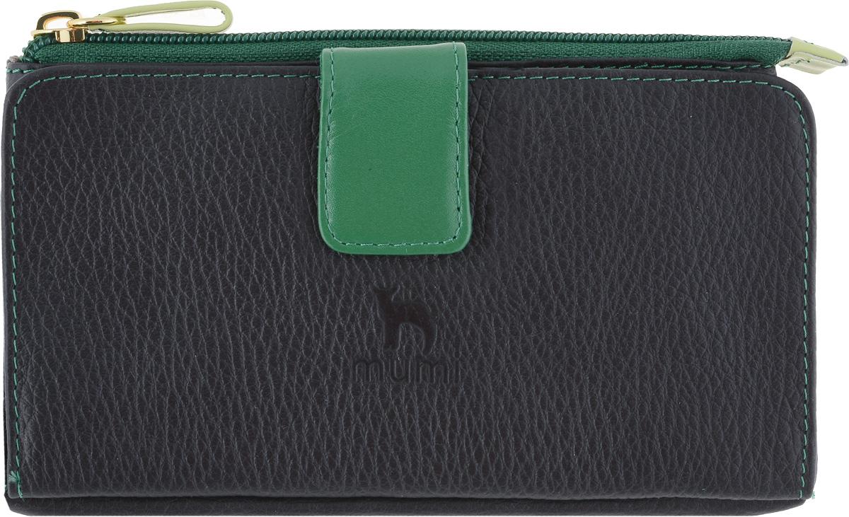 Портмоне женское Dimanche Mumi, цвет: черный, зеленый. 293392394Оригинальное портмоне Dimanche Mumi, сочетающее в себе функции портмоне и косметички, изготовлено из натуральной кожи. Отделение на молнии (косметичка) большое, вместительное, на подкладке из полиэстера. Такое отделение-косметичка может использоваться, как для ношения мелочи, косметики, как и для паспорта и мобильного телефона. Во втором отделении (портмоне) есть карман для купюр, прозрачный карман-окошко и 13 карманов для визиток/кредиток.