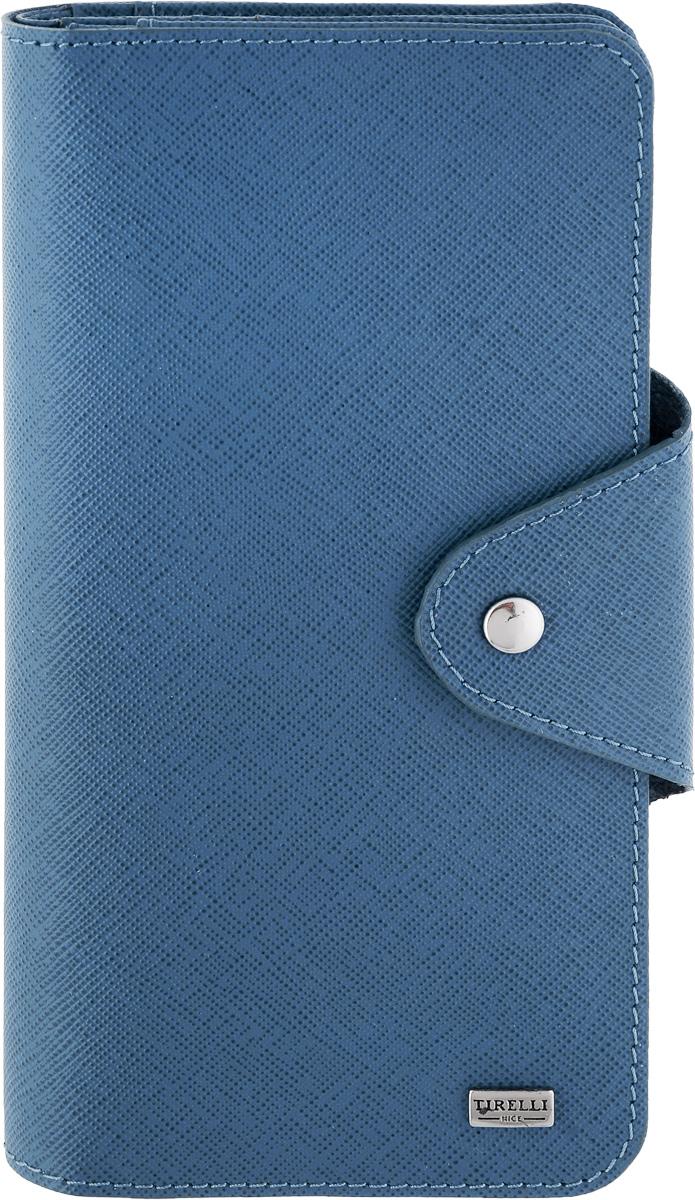Купюрник Tirelli Виктория, цвет: синий. 15-252-021-022_516Купюрник Tirelli Виктория изготовлен из натуральной кожи синего цвета с рельефной текстурой и закрывается хлястиком на кнопку. Купюрник оформлен фирменным логотипом. Внутри имеется четыре отделения для купюр, шестнадцать кармашков для хранения пластиковых карт, визиток, дисконтных карт, два отделения с сетчатым окошком для фотографий, три потайных кармашка для бумаг, карман на застежке-молнии и открытый кармашек.Такой купюрник станет отличным подарком для человека, ценящего качественные и необычные вещи.Изделие упаковано в подарочную коробку синего цвета с логотипом фирмы Tirelli. Характеристики:Материал: натуральная кожа, металл. Цвет: синий. Размер портмоне (в сложенном виде): 9,5 см х 18 см х 2,5 см.
