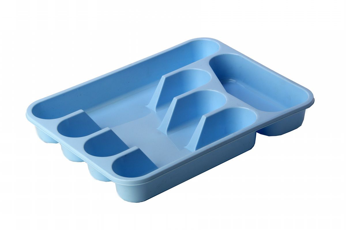 Лоток-вкладыш для столовых приборов Idea, цвет: голубой4630003364517Лоток-вкладыш для столовых приборов Idea - изготовлен из высококачественного пищевого пластика. Он предназначен для выдвигающихся ящиков на кухне. Лоток имеет пять отделений: три отделения для вилок, ложек, ножей, одно маленькое отделение для чайных ложек и десертных вилок, одно большое отделение для остальных приборов.
