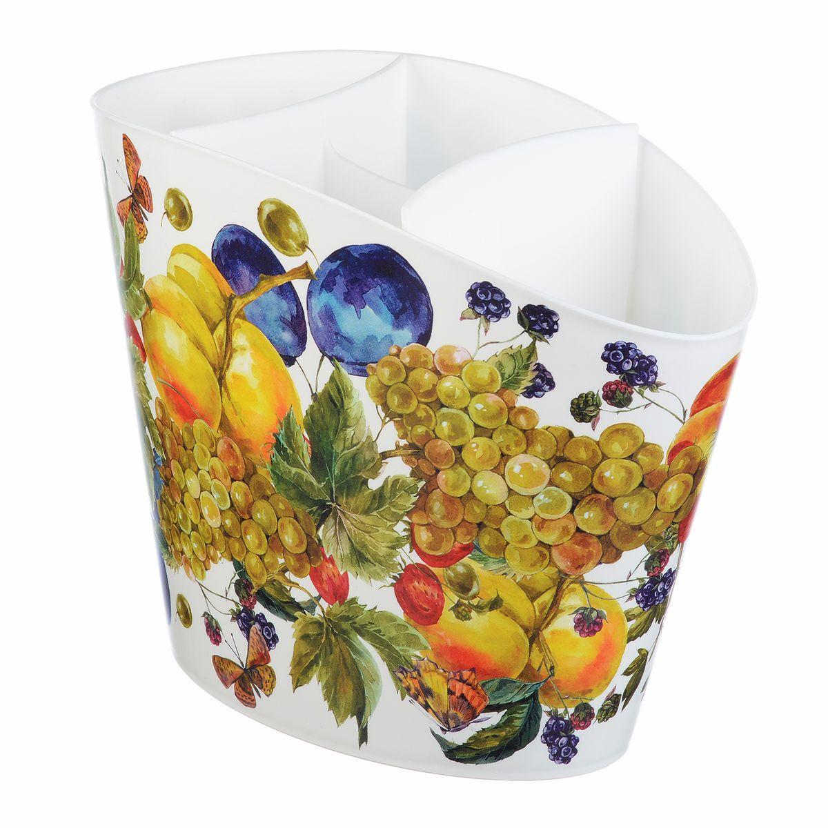 Сушилка для для столовых приборов Idea Деко. Фрукты2142_голубойСушилка для столовых приборов Idea, выполненная из высококачественного пластика, станет полезным приобретением для вашей кухни. Сушилка имеет три отделения для разных видов столовых приборов. Дно отделений оснащено отверстиями. Сушилка удобна в использовании и имеет современный дизайн, который станет ярким акцентом в интерьере вашей кухни. Размер сушилки: 19,5 см х 15,5 см х 11 см.