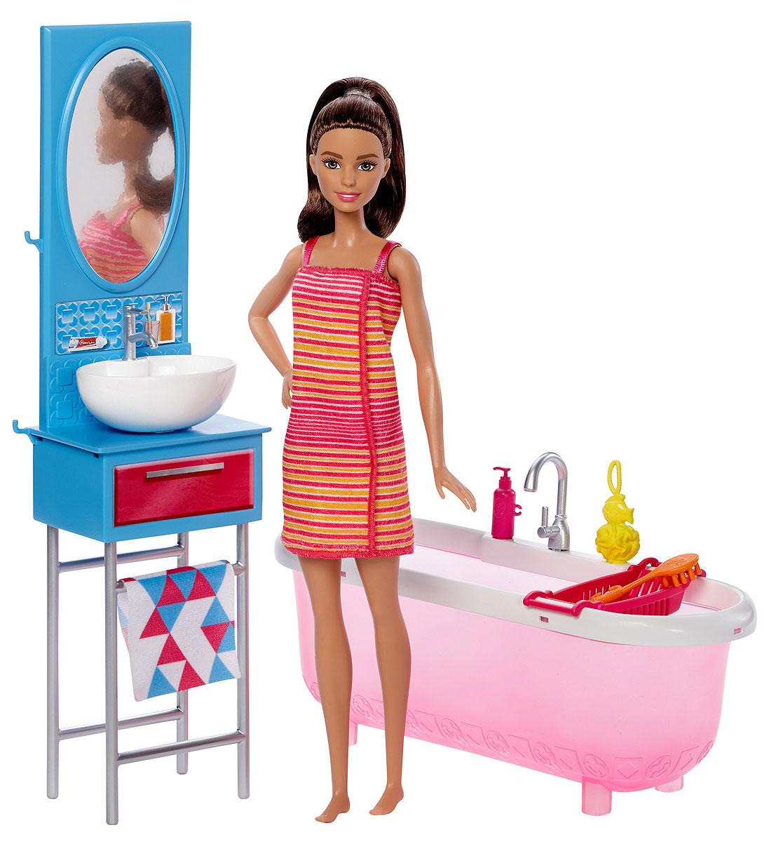 Barbie Игровой набор с куклой Ванная barbie набор для декора дома холодильник с продуктами cfg65 cfg70