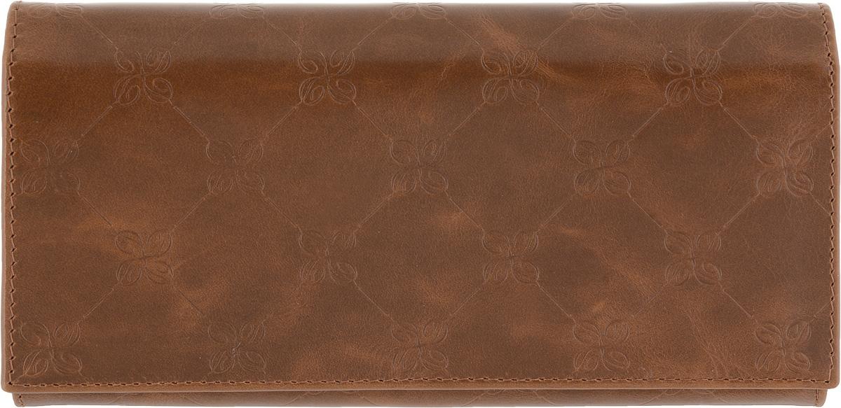 Портмоне женское Dimanche Louis Brun, цвет: коричневый. 597BM8434-58AEЖенское портмоне Dimanche Louis Brun выполнено из натуральной кожи коричневого цвета с декоративным тиснением и закрывается на кнопку. Внутри находятся три отделения для купюр, отделение для мелочи на застежке-молнии, семь кармашков для кредитных карт и визиток, кармашек с пластиковым прозрачным окошком и два длинных дополнительных кармана. На тыльной стороне расположен большой дополнительный карман без застежки. Портмоне Dimanche Louis Brun станет отличным подарком для человека, ценящего качественные и стильные вещи.Портмоне упаковано в фирменную подарочную коробку.