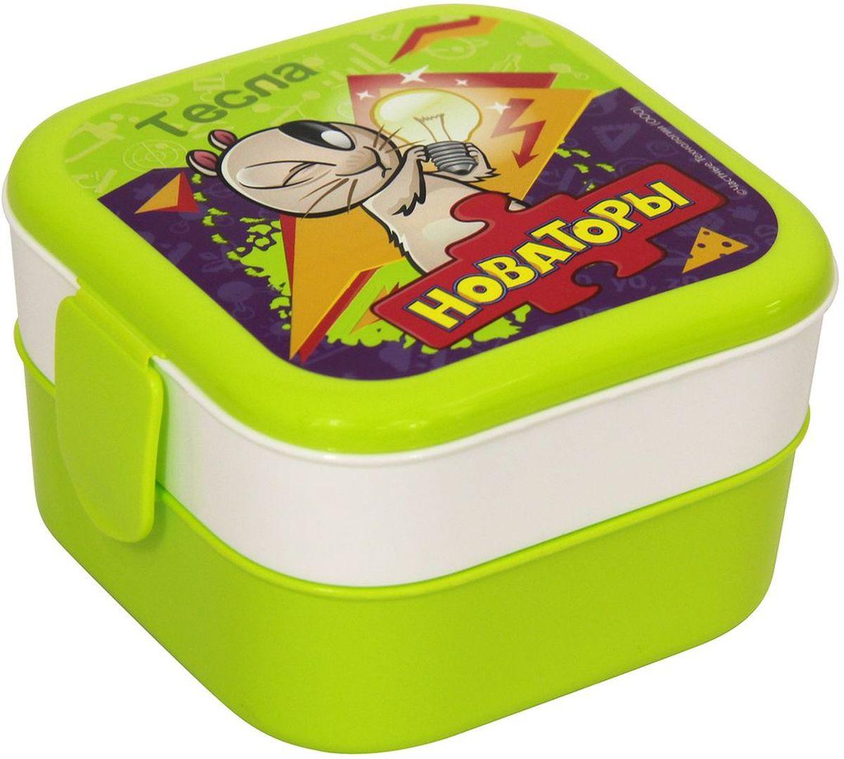 Контейнер Idea Disney. Новаторы, 2 секции, цвет: салатовыйJUG 1 WhiteКонтейнер Idea Disney изготовлен из высококачественного пластика, предназначен для хранения продуктов. Изделие декорировано ярким рисунком. Контейнер легко открывается, оснащен двумя съемными отделениями и клапаном на крышке. Контейнер - отличное решение для хранения продуктов.Размер контейнера: 12 см х 12 см х 8 см. Объем секции: 0,4 л.