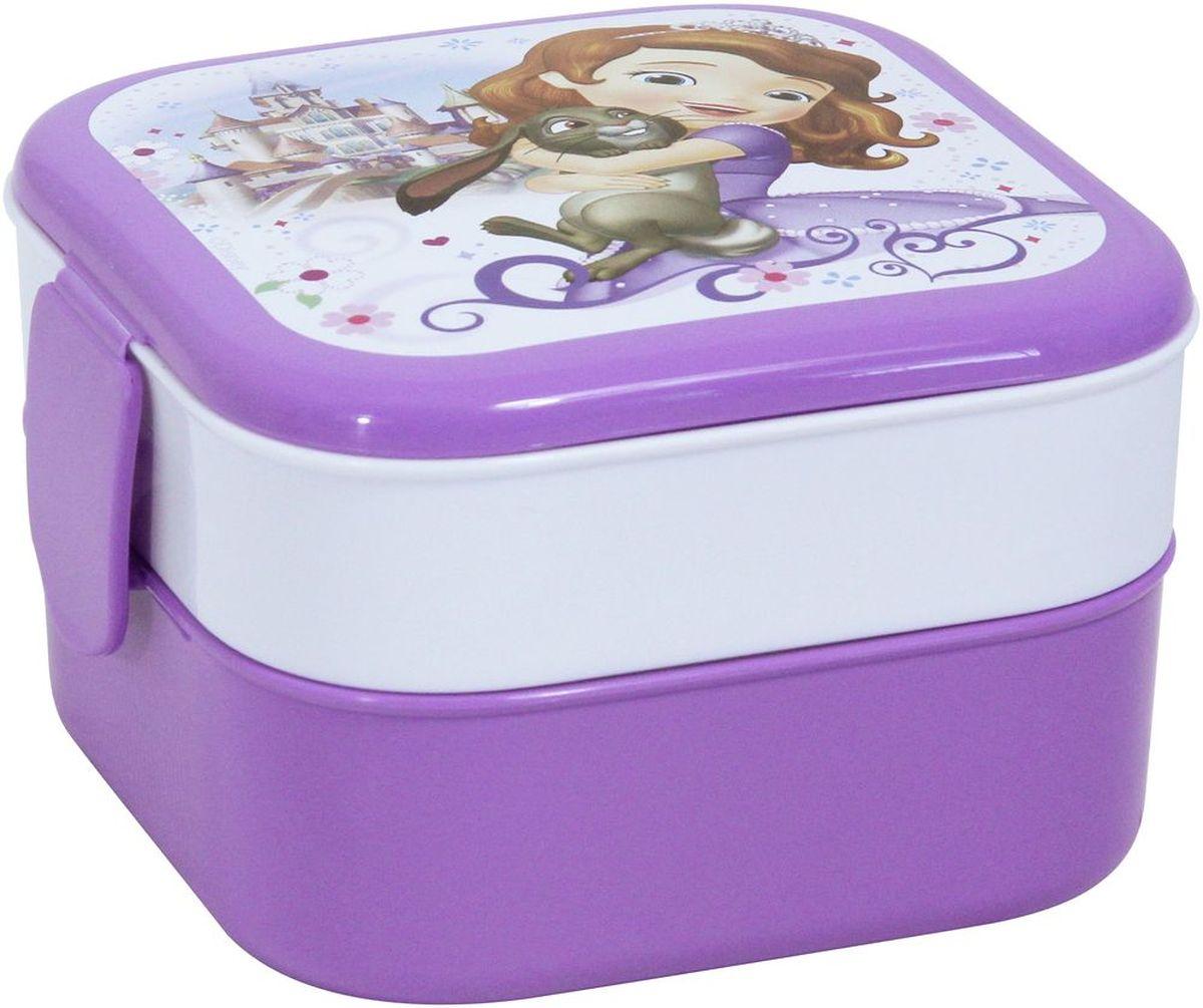 Контейнер Idea Disney. Принцесса София, 2 секции, цвет: лиловыйFA-5125 WhiteКонтейнер Idea Disney изготовлен из высококачественного пластика, предназначен для хранения продуктов. Изделие декорировано ярким рисунком. Контейнер легко открывается, оснащен двумя съемными отделениями и клапаном на крышке. Контейнер - отличное решение для хранения продуктов.Размер контейнера: 12 см х 12 см х 8 см. Объем секции: 0,4 л.
