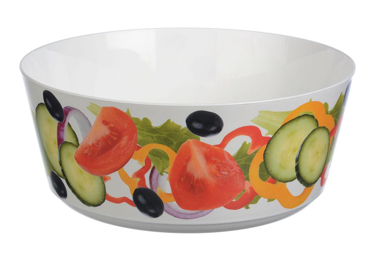 Миска Idea Деко. Овощи, 3 л115610Вместительная миска Idea Деко. Овощи изготовлена из высококачественного пищевого пластика. Изделие очень функциональное, оно пригодится на кухне для самых разнообразных нужд: в качестве салатника или миски. Стенки изделия оформлены ярким рисунком.