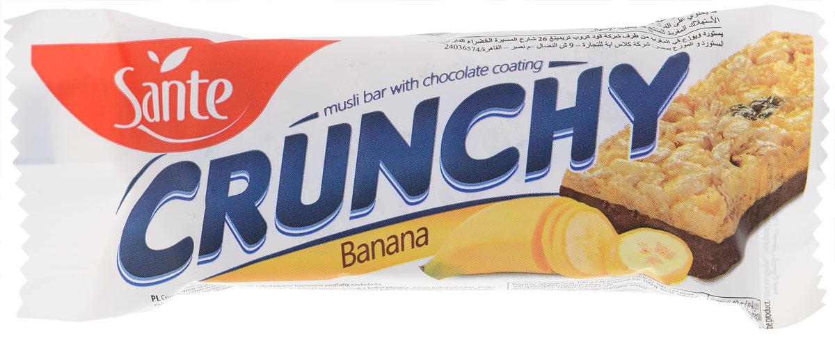 Sante Crunchy батончикмюслисбананомвшоколаде, 40г0120710Хрустящие батончики имеют отличный вкус и питательные свойства. Батончики мюсли Crunchy с клюквой и малиной в ванильной глазури изготавливаются из натуральных ингредиентов (таких как овсяные хлопья, клюква, малина, кокосовые хлопья) и вкусной белой глазури. Эти батончики - отличная альтернатива калорийным шоколадным батончикам. Батончики Crunchy – это хороший перекус на работе или во время прогулки. Идеально подходит для перекуса между приемами пищи. Уважаемые клиенты! Обращаем ваше внимание, что полный перечень состава продукта представлен на дополнительном изображении. Упаковка может иметь несколько видов дизайна. Поставка осуществляется взависимости от наличия на складе.