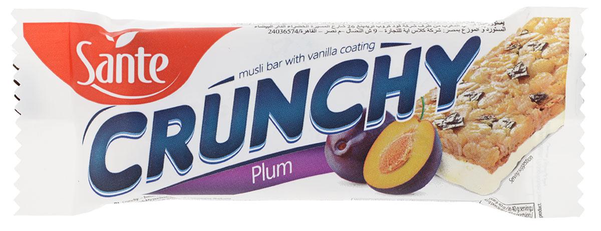 Sante Crunchy батончикмюслисосливойвванильной глазури, 40 г0120710Хрустящие батончики имеют отличный вкус и питательные свойства. Батончики мюсли Crunchy со сливой в ванильной глазури изготавливаются из натуральных ингредиентов (таких как овсяные хлопья, сливы, кокосовые хлопья) и вкусной белой глазури. Эти батончики - отличная альтернатива калорийным шоколадным батончикам. Батончики Crunchy – это хороший перекус на работе или во время прогулки. Идеально подходит для перекуса между приемами пищи. Уважаемые клиенты! Обращаем ваше внимание, что полный перечень состава продукта представлен на дополнительном изображении. Упаковка может иметь несколько видов дизайна. Поставка осуществляется взависимости от наличия на складе.
