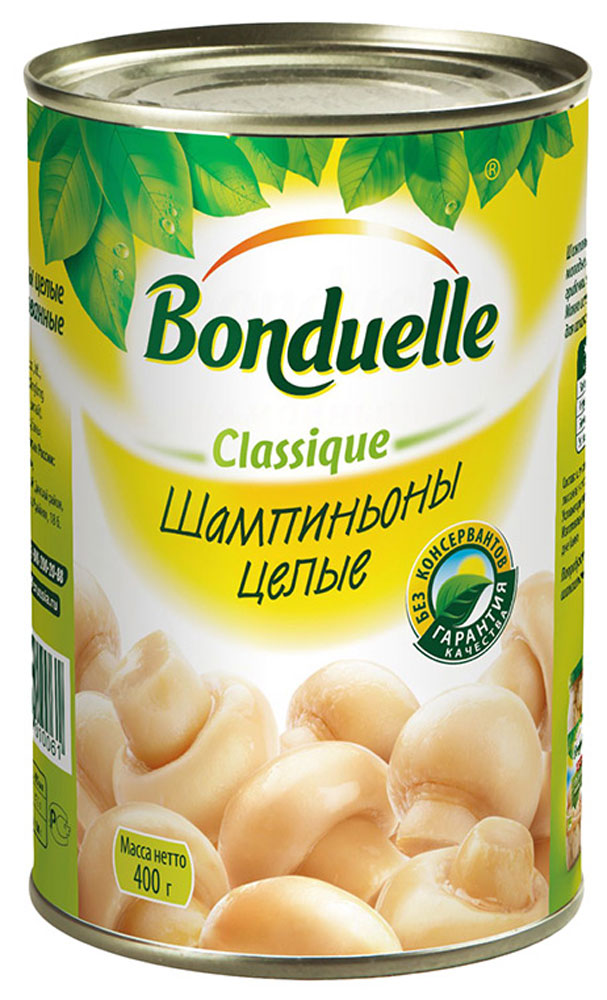Bonduelle шампиньоны целые, 400 г3603Шампиньоны Bonduelle - универсальный ингредиент для любого блюда, проходит тщательный отбор: только молодые, собранные на пике созревания грибы одинакового цвета и размера попадут к вам на стол. А их вкус и аромат непременно поразят вас своей насыщенностью.Уважаемые клиенты! Обращаем ваше внимание, что полный перечень состава продукта представлен на дополнительном изображении.