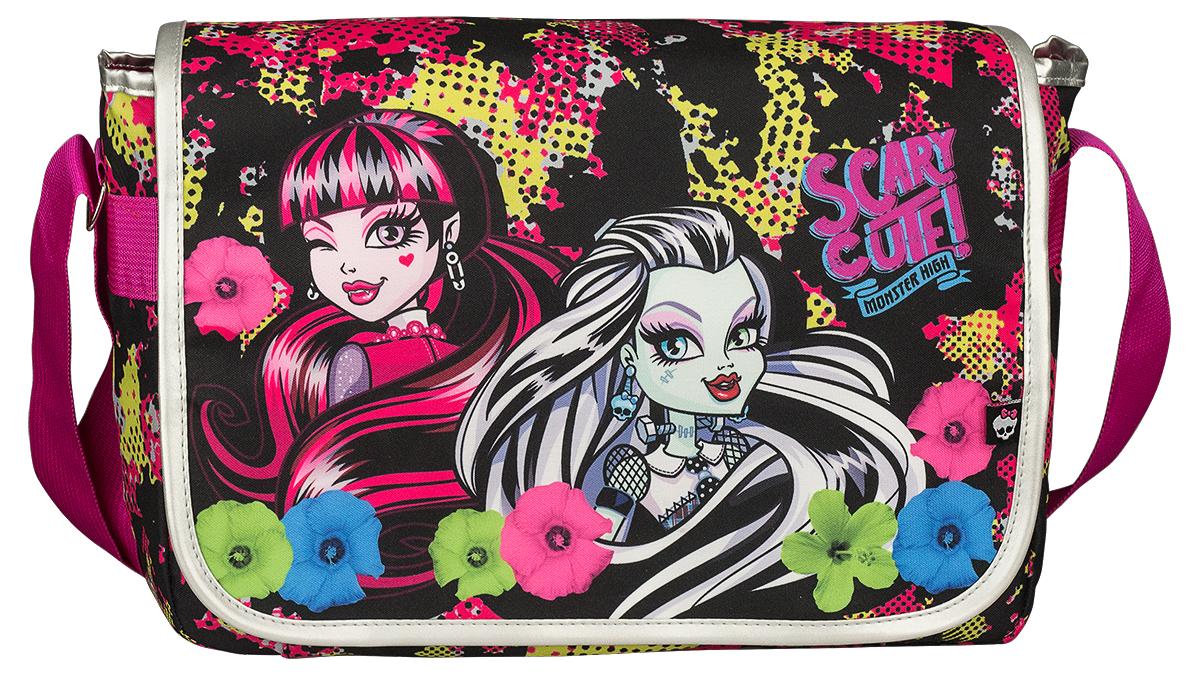 Monster High Сумка школьная цвет черный розовый72523WDШкольная сумка Monster High изготовлена из прочного материала черного цвета и оформлена ярким принтом в стиле учениц Школы Монстров. Сумка имеет одно вместительное отделение, которое закрывается на застежку-молнию и клапан на липучке. Внутри отделения находятся четыре кармашка под канцелярские принадлежности, открытый карман для мелочей и подвесной кармашек на молнии. Под клапаном с лицевой стороны расположен накладной карман на липучке. Задняя стенка сумки оснащена большим карманом на липучке. Сумка имеет одну широкую лямку, которая регулируется по длине.Такую сумку можно использовать для повседневных прогулок, учебы, отдыха или спорта.