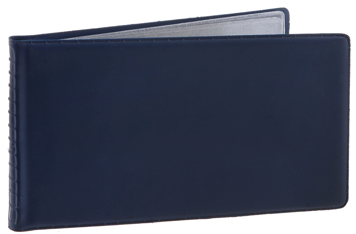 Визитница Panta Plast, на 24 визитки, цвет: темно-синийINT-06501Компактная карманная визитница предназначена для хранения 24 визитных карт. Прозрачный внутренний блок на спайке. Обложка выполнена из высококачественного ПВХ.Характеристики:Материал: ПВХ, пластик. Размер визитницы (в закрытом виде): 7,3 см х 11,7 см х 0,5 см.