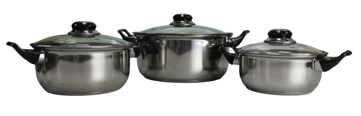 Набор кастрюль Vetta, 6 предметов, с крышками. 82201054 009312Набор Vetta состоит из 3 кастрюль. Кастрюли имеют многослойное капсульное дно с алюминиевым основанием, которое быстро и равномерно накапливает тепло и также равномерно передает его пище. Такое дно позволяет готовить блюда с минимальным количеством воды и жира, сохраняя при этом вкусовые и питательные свойства продуктов. Применение технологии многослойного дна создает эффект удержания тепла - пища готовится и после отключения плиты благодаря термоаккумулирующим свойствам посуды. Диаметры изделий соответствуют общепринятым размерам конфорок бытовых плит.Кастрюли оснащены удобными металлическими ручками. Крышки изготовлены из жаростойкого стекла, оснащены ручками, отверстиями для выпуска пара и металлическим ободом. Можно использовать на газовых, электрических, галогенных, стеклокерамических. Можно мыть в посудомоечной машине. Объем кастрюль: 1,5 л, 2,1 л, 3,9 л.