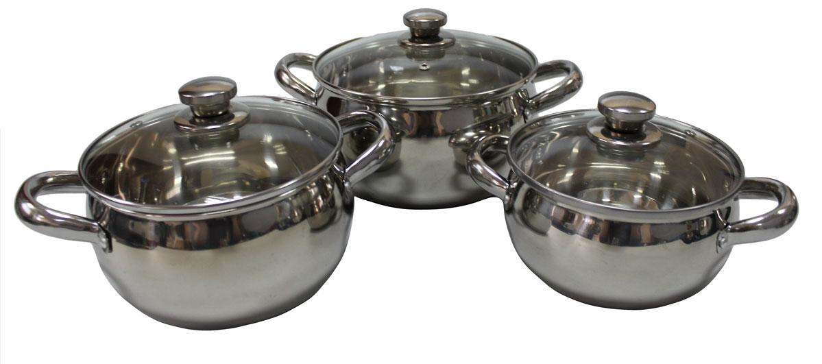 Набор кастрюль Vetta, 6 предметов. 822028391602Набор из 3 кастрюль объемами 1.7, 2.4 и 2.9 л. Кастрюли имеют многослойное капсульное дно с алюминиевым основанием, которое быстро и равномерно накапливает тепло и также равномерно передает его пище. Такое дно позволяет готовить блюда с минимальным количеством воды и жира, сохраняя при этом вкусовые и питательные свойства продуктов. Применение технологии многослойного дна создает эффект удержания тепла - пища готовится и после отключения плиты благодаря термоаккумулирующим свойствам посуды. Диаметры изделий соответствуют общепринятым размерам конфорок бытовых плит. Кастрюли оснащены удобными металлическими ручками. Крышки изготовлены из жаростойкого стекла, оснащены ручками, отверстиями для выпуска пара и металлическим ободом. Можно использовать на газовых, электрических, галогенных, стеклокерамических. Можно мыть в посудомоечной машине.