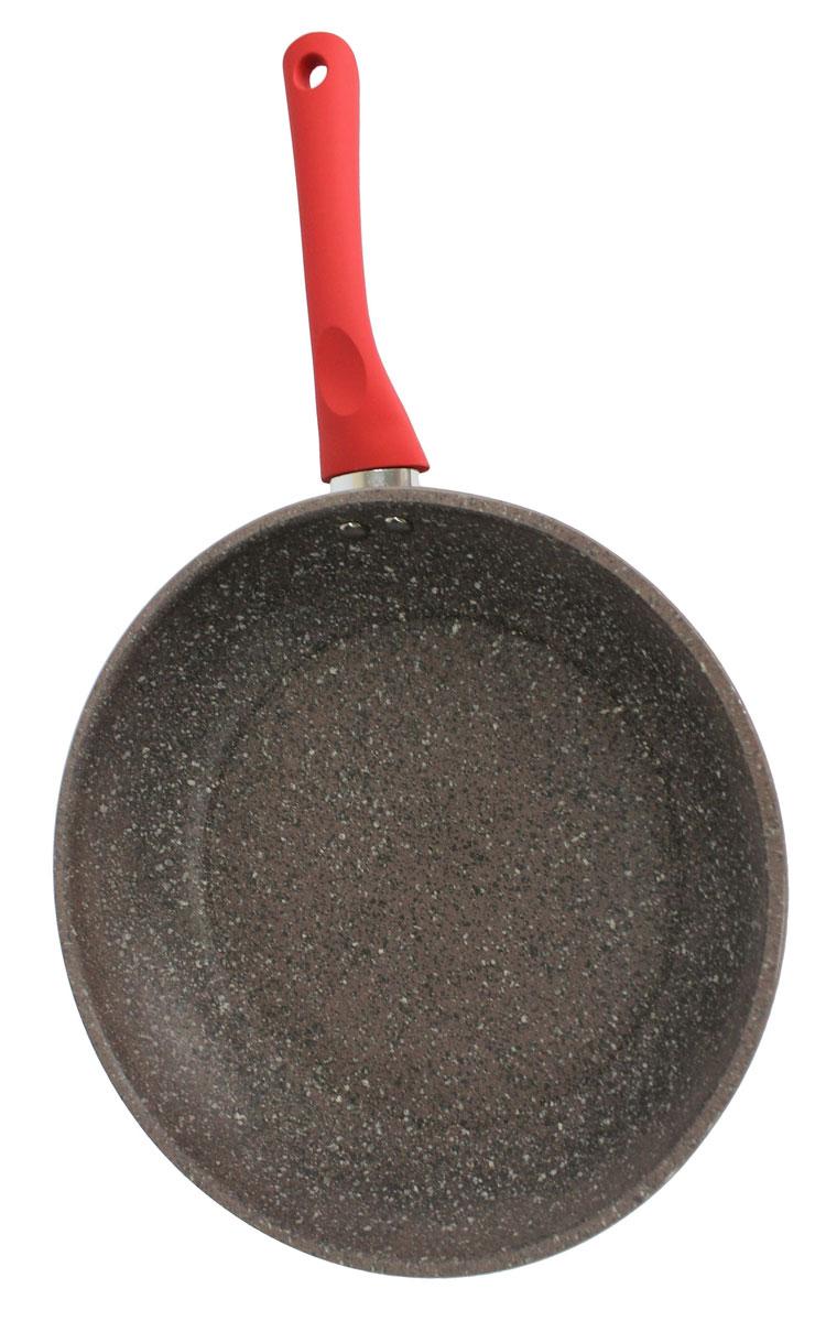 Сковорода Satoshi Вива, диаметр 28 см54 009312Сковорода диаметром 28 см из литого алюминия с 2-х слойным гранитным антипригарным покрытием серого цвета изнутри и снаружи, с пластиковой ручкой с покрытием софт-тач и индукционным дном - подходит для всех типов плит, включая индукцию.