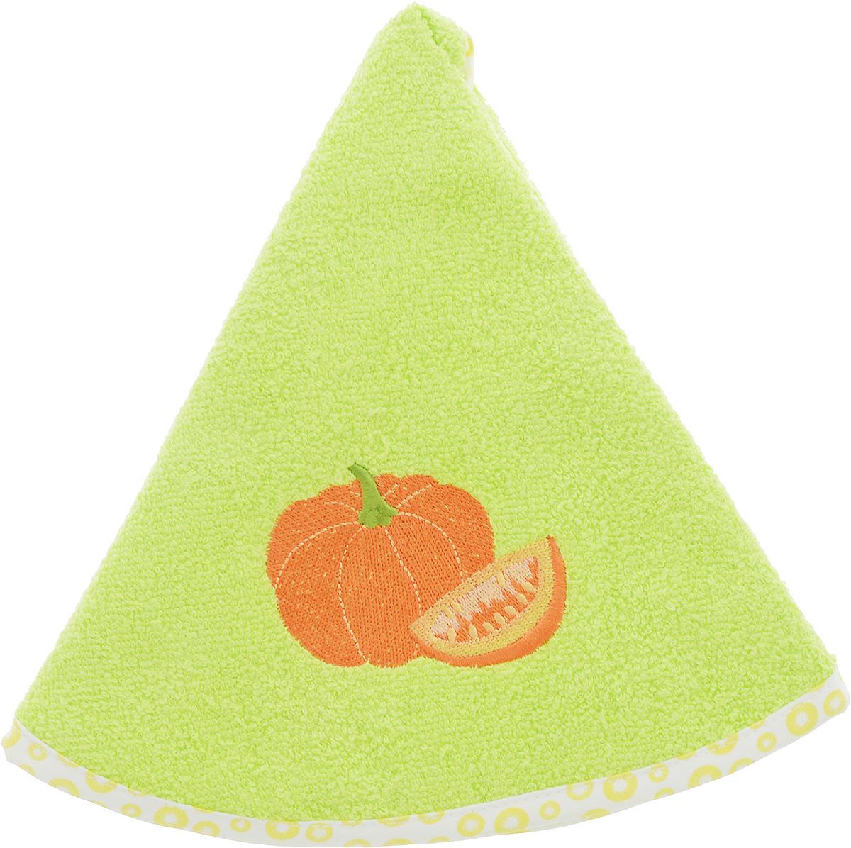 Полотенце кухонное Karna Zelina. Тыква, цвет: салатовый, оранжевый, диаметр 50 смVT-1520(SR)Круглое кухонное полотенце Karna Zelina. Тыква изготовлено из 100% хлопка, поэтому являетсяэкологически чистым. Качество материала гарантирует безопасность не только взрослым, но и самым маленьким членам семьи. Изделие мягкое и пушистое, оснащено удобной петелькой и украшено оригинальной вышивкой. Кухонное полотенце Karna сделает интерьер вашей кухни стильным и гармоничным.Диаметр полотенца: 50 см.