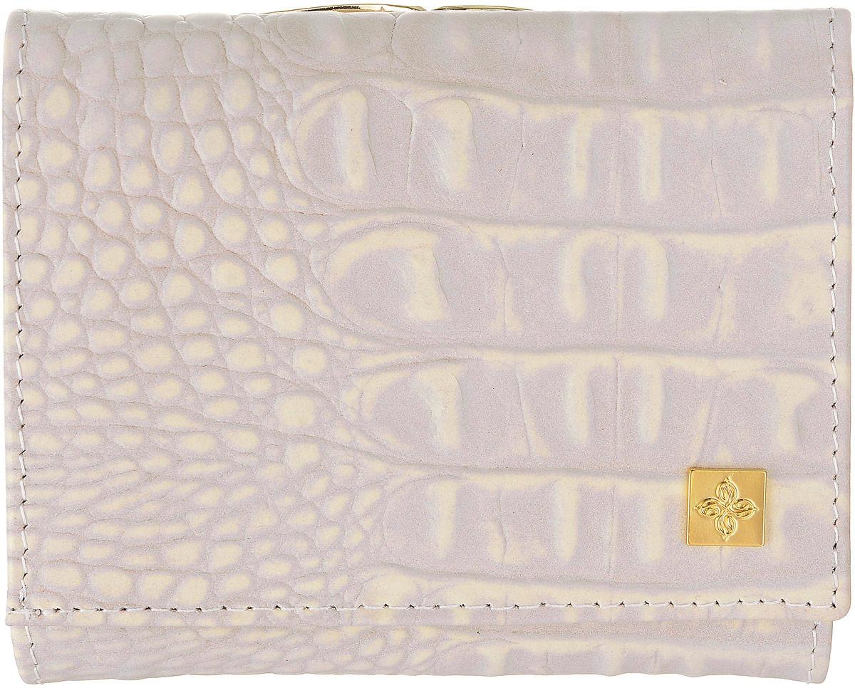 Кошелек женский Dimanche Baileys, цвет: сиренево-бежевый, коричневый. 360INT-06501Стильный женский кошелек Dimanche Baileys выполнен из натуральной кожи с тиснением под крокодила. Внутри находятся три отделения для купюр, одно из которых на застежке-молнии, три боковых кармана, один из которых с прозрачным окошком восемь кармашков для визиток и пластиковых карт. Закрывается изделие на клапан с кнопкой. Снаружи, на задней стенке располагается отделение для мелочи, которое закрывается на защелку.Изделие упаковано в фирменную коробку.Стильный кошелек Dimanche Baileys станет отличным подарком для человека, ценящего качественные и практичные вещи.