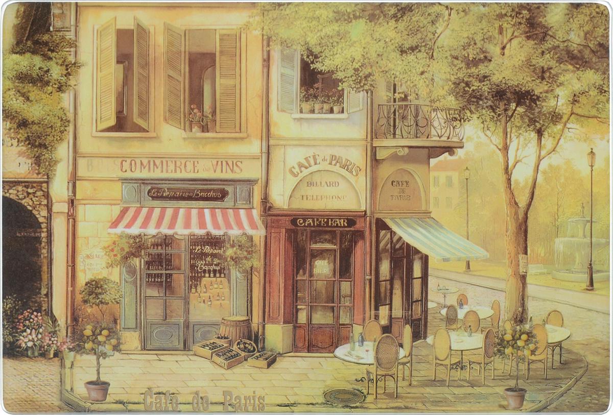Доска разделочная GiftnHome Парижское кафе, стеклянная, 30 х 20 см68/5/4Разделочная доска GiftnHome Парижское кафе выполнена из закаленного стекла. Изделие, украшенное красочным изображением, идеально впишется в интерьер современной кухни. Специальное покрытие вкладыша обеспечивает стойкость к влаге и высоким температурам. Изделие легко чистить от пятен и жира. Также доску можно применять как подставку под горячее, так как устойчива к высоким температурам (макс. +90°С). Доска оснащена резиновыми ножками, предотвращающими скольжение по поверхности стола.Разделочная доска GiftnHome Парижское кафе украсит ваш стол и сбережет его от воздействия высоких температур ваших кулинарных шедевров. Можно мыть в посудомоечной машине.Размер доски: 30 х 20 х 0,4 см.