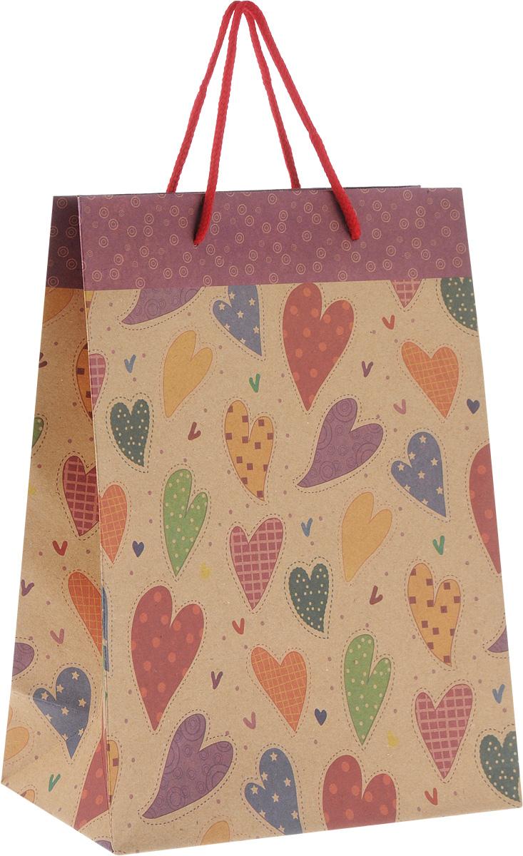 Пакет подарочный Феникс-Презент Сердечки, 19 х 8 х 24,5 см43518Подарочный пакет Феникс-Презент Сердечки, изготовленный из плотной крафт-бумаги с рисунками сердечек, станет незаменимым дополнением к выбранному подарку. Дно изделия укреплено картоном, который позволяет сохранить форму пакета и исключает возможность деформации дна под тяжестью подарка. Для удобной переноски имеются две текстильные ручки в виде шнурков.Подарок, преподнесенный в оригинальной упаковке, всегда будет самым эффектным и запоминающимся. Окружите близких людей вниманием и заботой, вручив презент в нарядном, праздничном оформлении.