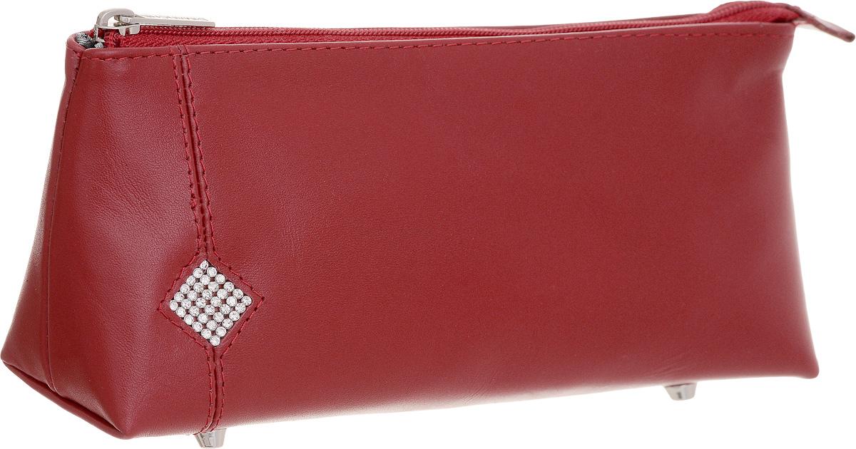 Косметичка Dimanche Рубин, цвет: красный. 011INT-06501Косметичка Dimanche Рубин изготовлена из высококачественной натуральной кожи и оформлена аппликацией из стразов в виде ромба. Внутренняя поверхность отделана шелковистым текстилем. Закрывается косметичка на застежку-молнию. На дне расположены четыре металлические ножки, которые позволят продлить срок службы изделия. Фурнитурасеребристого цвета. Косметичка Рубин - яркий стильный аксессуар, который дополнит ваш образ и станет незаменимой вещью для хранения косметики. Благодаря компактным размерам она поместится в любую сумочку.