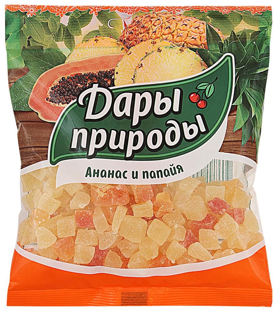 Дары природы цукаты ананас и папайя сушеные, 150 г0120710Цукаты - это бесценный источник: энергии; полезных элементов, витаминов и минералов. Цукаты - это те же фрукты, сначала засахаренные и затем подсушенные. Цукаты из папайи и ананаса сохраняют вкусовые и питательные свойства этих экзотических фруктов. Они являются прекрасным десертным продуктом.Уважаемые клиенты! Обращаем ваше внимание, что полный перечень состава продукта представлен на дополнительном изображении.
