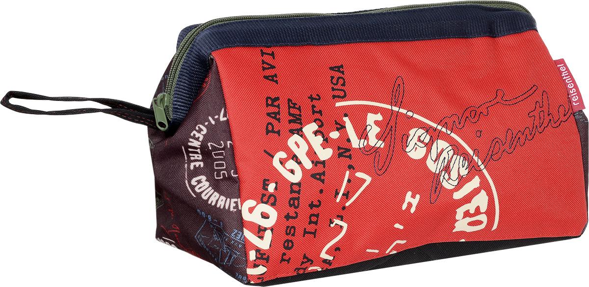Косметичка Reisenthels, цвет: красный, мультиколор. WC7037G39-3 BEIGEКосметичка Reisenthel выполнена из высококачественного полиэстера. Изделие оформлено оригинальным принтом. Косметичка закрывается на застежку-молнию. Внутри расположено вместительное отделение, которое содержит один вшитый карман на молнии и три фиксатора для косметических принадлежностей и аксессуаров. Косметичка оснащена ремешком для переноски.