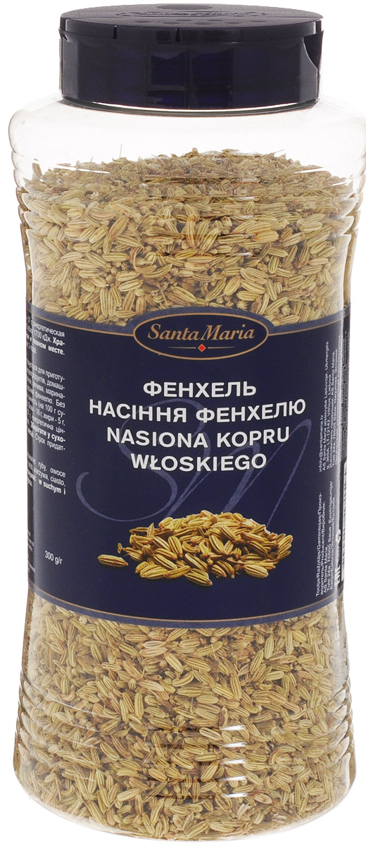 Santa Maria Фенхель семена, 300 г0120710Семена фенхеля используются для приготовления блюд из рыбы и морепродуктов, мяса, птицы, а также для выпечки и маринадов.