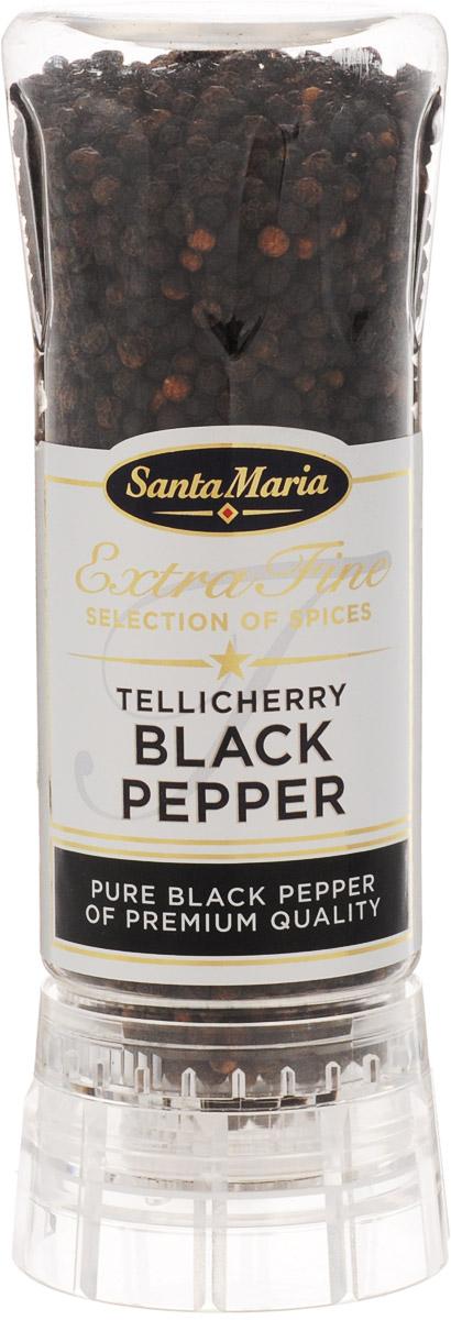 Santa Maria Черный перец Теличерри, 210 г0120710Черный перец Santa Maria Теличерри в мельнице.Этот сорт перца отличается крупным размером, поэтому считается премиальным продуктом. Крупные плоды перца имеют более яркий аромат, нежели обычный перец горошком, а также изумительный вкус, в полной мере отдавая его вашим любимым блюдам.Приятная острота перца окажется приятным дополнением к мясу, приготовленному на гриле, сковороде, в мультиварке. Добавьте перец теличерри к рыбе - вы почувствуете особую богатую гамму вкуса.