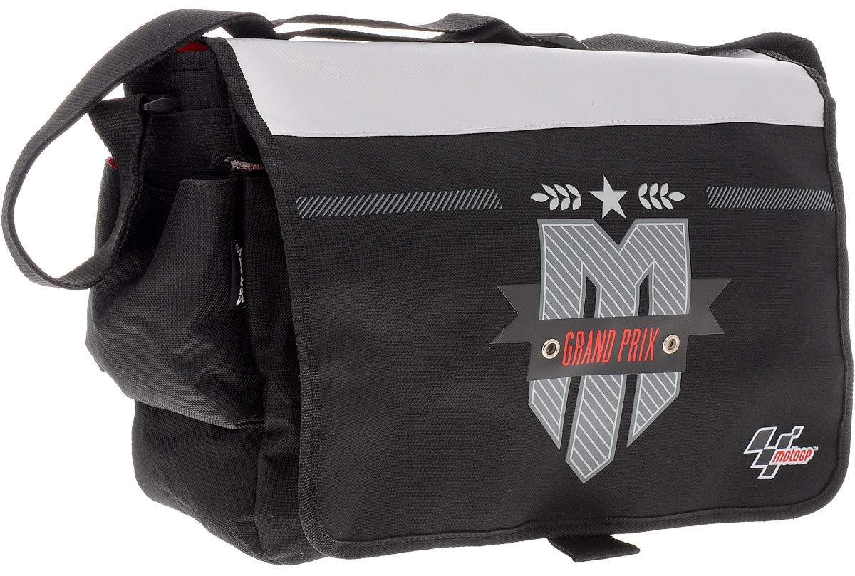 MotoGP Сумка школьная Grand Prix17241Школьная сумка MotoGP Grand Prix выполнена из прочного полиэстера черного цвета. Удобная наплечная сумка содержит одно основное отделение, которое закрывается на молнию и клапан с липучками. Вместительное отделение содержит мягкий накладной карман с хлястиком на липучке, два открытых накладных кармашка и врезной карман на молнии.На передней и на задней сторонах сумки расположились большие карманы на молниях. По бокам сумка дополнена накладными карманами на липучках.Сумка имеет одну широкую лямку для переноски на плече. Лямка легко регулируется по длине. Прочную и вместительную сумку Grand Prix можно использовать для повседневных прогулок, учебы, отдыха или спорта.