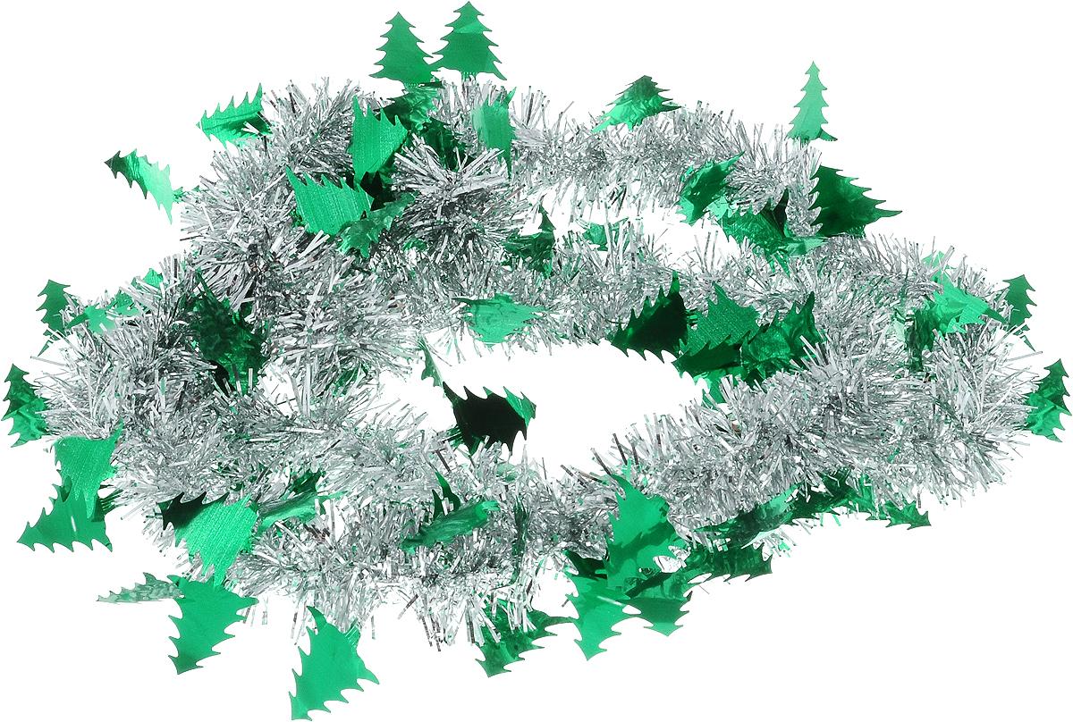 Мишура новогодняя B&H Елочки, цвет: серебристый, зеленый, длина 2 мNLED-454-9W-BKМишура новогодняя B&H Елочки, выполненная из ПВХ, поможет вам украсить свой дом к предстоящим праздникам. Новогодняя елка с таким украшением станет еще наряднее. Новогодней мишурой можно украсить все, что угодно - елку, квартиру, дачу, офис - как внутри, так и снаружи. Можно сложить новогодние поздравления, буквы и цифры, мишурой можно украсить и дополнить гирлянды, можно выделить дверные колонны, оплести дверные проемы.