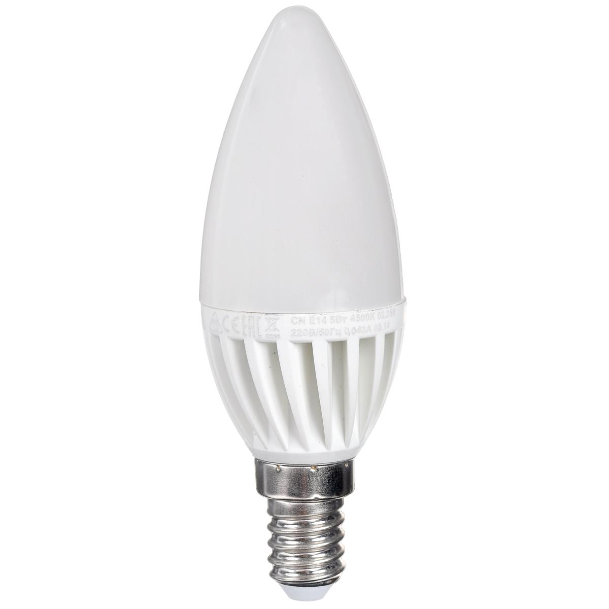 Светодиодная лампа Kosmos, белый свет, цоколь E14, 5W, 220V. Lksm_LED5wCNE1445C0038550КОСМОС LED CN 5Вт 220В E14 4500K (Lksm LED5wCNE1445) – представитель декоративной серии ламп из световых диодов. Преследует эффективное использование посредством классических люстр и БРА. Лампа сделана из оптимальных комплектующих, способна прослужить 30 тысяч часов. Экономия – до 90% электроэнергии. Цветовой индекс передачи Ra составляет >80. Заменяет ЛОН на 60W.Уважаемые клиенты! Обращаем ваше внимание на возможные изменения в дизайне упаковки. Качественные характеристики товара остаются неизменными. Поставка осуществляется в зависимости от наличия на складе.