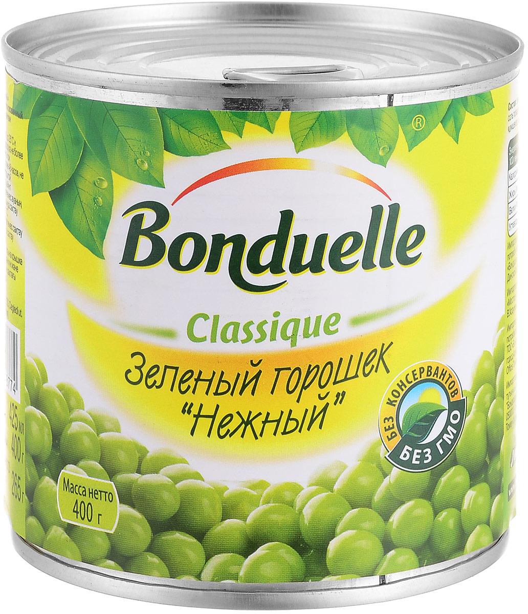 Bonduelle зеленый горошек Нежный, 400 г0120710Нежнейший и сладкий зеленый горошек непревзойденного качества тщательно отбирается, прежде чем попасть в банку. Только у Bonduelle процесс от сбора с грядки до упаковки проходит всего за 4 часа - поэтому на вашем столе всегда самый лучший горошек мозговых сортов, в котором содержится меньше крахмала, больше витаминов и яркого вкуса.Уважаемые клиенты! Обращаем ваше внимание, что полный перечень состава продукта представлен на дополнительном изображении.