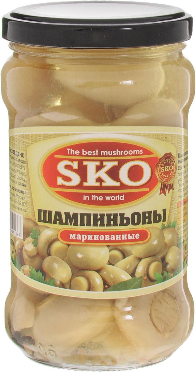 SKO Шампиньоны маринованные целые, 314 мл0120710Маринованные шампиньоны SKO станут прекрасным украшением праздничного стола.Грибы тщательно отобраны. Продукция соответствует всем микробиологическим требованиям, приготовлена по специальной технологии, которая позволяет сохранить гриб светлым, красивым, а также вкусным и полезным. Шампиньон содержит все, что нужно организму. Но при этом жира в этих вкусных и полезных грибах очень мало. Шампиньоны содержат вещества, улучшающие аппетит и стимулирующие работу иммунной системы.Уважаемые клиенты! Обращаем ваше внимание, что полный перечень состава продукта представлен на дополнительном изображении.