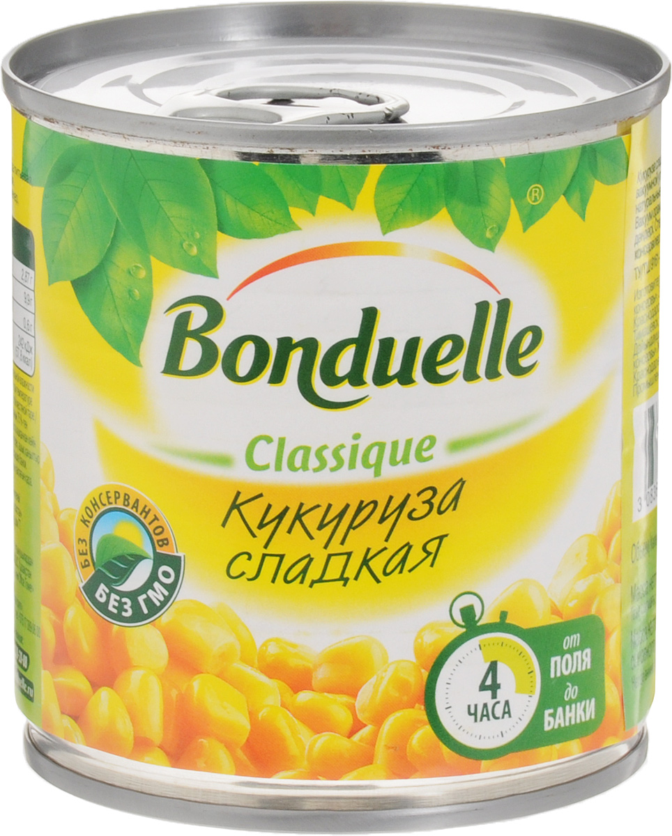 Bonduelle кукуруза сладкая, 170 г0120710Настоящая классика Bonduelle - продукты, давно знакомые и востребованные, а значит, их качество проверено временем и подтверждено любовью миллионов хозяек и поваров. Без них невозможно представить ни один стол нашей страны, а особенно праздничное меню, где обязательно имеются салаты с зеленым горошком и кукурузой.Уважаемые клиенты! Обращаем ваше внимание, что полный перечень состава продукта представлен на дополнительном изображении.