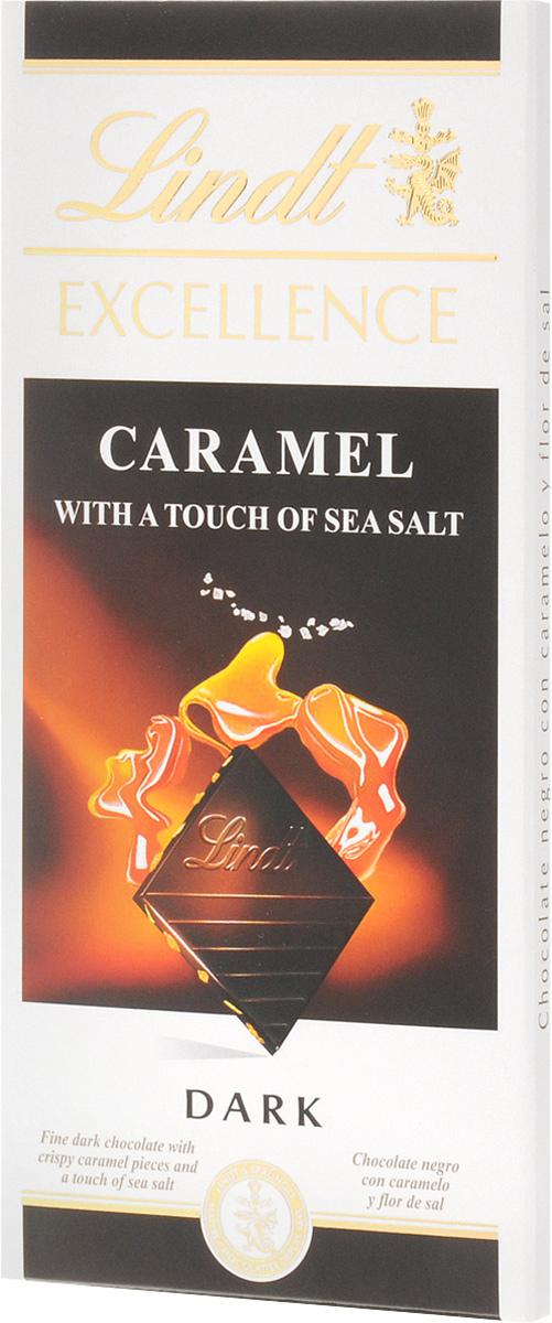 Lindt Excellence темный шоколад с карамелью и морской солью, 100 г0120710Этот шоколад станет настоящей находкой для любителей сладостей с необычным вкусом. Шелковистая текстура легко тающего шоколада интересно контрастирует с хрустящими кусочками карамели и кристаллами соли, которые придают вкусу лакомства пикантный солоноватый оттенок.Уважаемые клиенты! Обращаем ваше внимание, что полный перечень состава продукта представлен на дополнительном изображении.