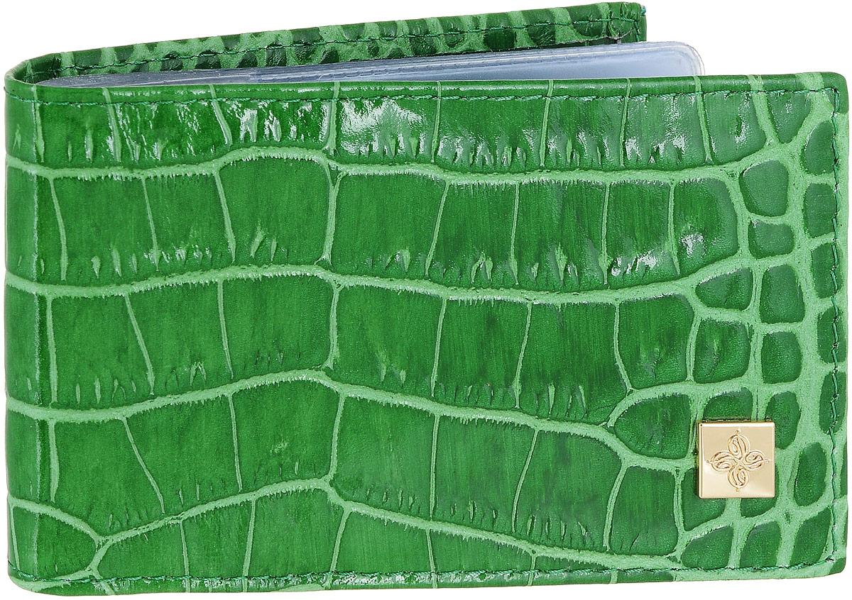 Визитница Dimanche Казино, цвет: зеленый. 984B16-11416Визитница Казино - это стильный аксессуар, который не только сохранит визитки и кредитные карты в порядке, но и, благодаря своему строгому дизайну и высокому качеству исполнения, блестяще подчеркнет тонкий вкус своего обладателя. Визитница выполнена из гладкой натуральной высококачественной кожи с декоративным тиснением и содержит внутри съемный блок из 16 прозрачных пластиковых вкладышей, рассчитанных на 32 визитки.Визитница Казино станет великолепным подарком ценителю современных практичных вещей. Визитница упакована в фирменную коробку из картона. Характеристики:Материал: натуральная кожа, пленка ПВХ, металл. Цвет: зеленый. Размер визитницы: 10 см х 7 см х 1,5 см.