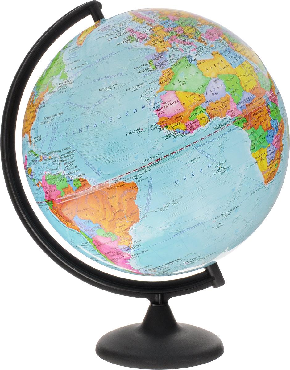 Глобусный мир Глобус с политической картой мира диаметр 32 см на подставкеFS-00897Большой глобус Глобусный мир на подставке изготовлен из прочного и безопасного пластика. На глобусе расположена политическая карта мира. На глобусе показаны границы стран, названия крупных городов, морей и океанов. Линиями выделены железные дороги, морские рейсы и судоходные каналы. Страны на глобусе обозначены не только границами, но и разными цветами.Все названия на глобусе приведены на русском языке. Изделие расположено на пластиковой подставке черного цвета со съемной основой.Настольный глобус Глобусный мир станет оригинальным украшением рабочего стола или вашего кабинета. Масштаб: 1:40 000 000.