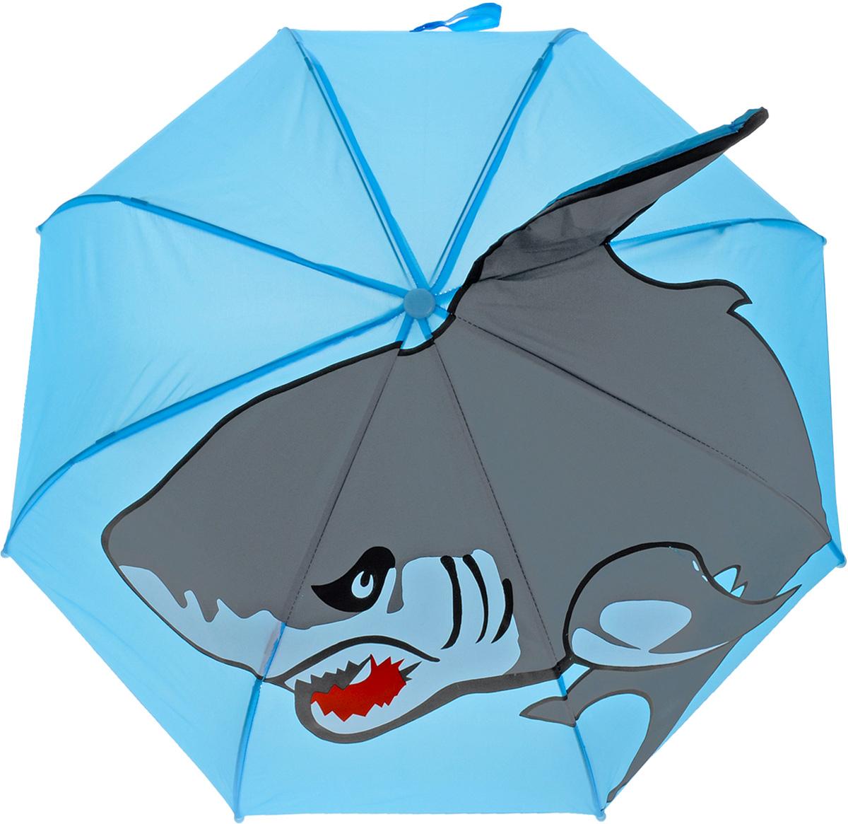 Mary Poppins Зонт-трость детский АкулаREM12-CAM-GREENBLACKОригинальный и практичный детский зонт-трость Mary Poppins Акула будет отличным подарком для вашего ребенка. Зонт состоит из восьми спиц и стержня, выполненных из прочного, но легкого металла. Купол выполнен из качественной синтетической ткани с рисунком акулы и объемным плавником. Зонт дополнен удобной пластиковой ручкой в виде крючка.Изделие имеет механический способ сложения, купол открываются и закрываются вручную до характерного щелчка. Зонт закрывается хлястиком на липучку. Такой зонтик понравится как мальчикам, так и девочкам. Радиус купола - 46 см.