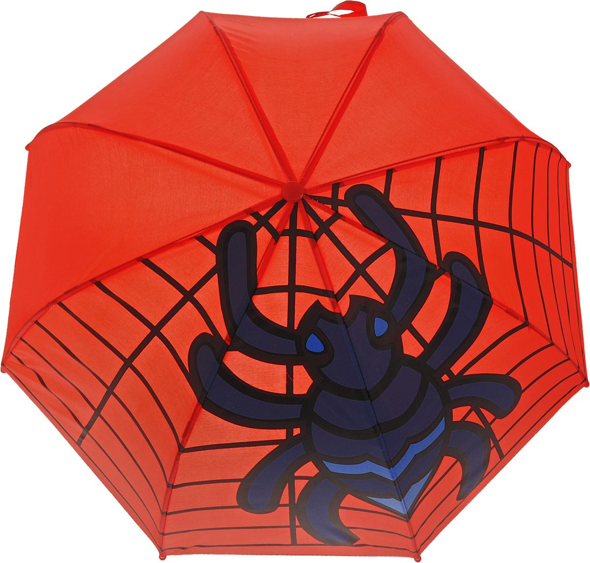 Mary Poppins Зонт-трость детский Паук1003-ZK1268/zДетский зонт-трость Mary Poppins Паук защитит вашего ребенка от непогоды. Зонтик не боится дождя и ветра благодаря прочному креплению купола к каркасу. Купол красного цвета оформлен рисунком большого паука, сидящего на своей паутине. У зонтика механическая система складывания, концы спиц закрыты пластиковыми шариками. Фиксатор для спиц выполнен из пластика. Такой зонтик понравится как мальчикам, так и девочкам. Радиус купола - 46 см.